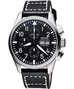 epos Pilot's 飛行員經典三眼計時機械腕錶-黑