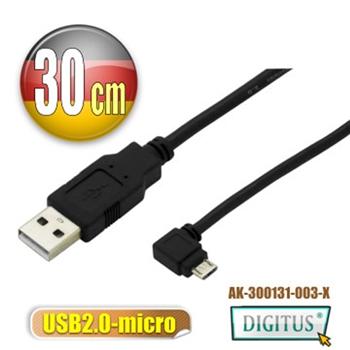 曜兆USB2.0轉microUSB左轉接頭線*30公分手機傳輸線