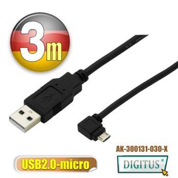 曜兆 USB2.0轉microUSB左轉接頭線*3公尺手機傳輸線