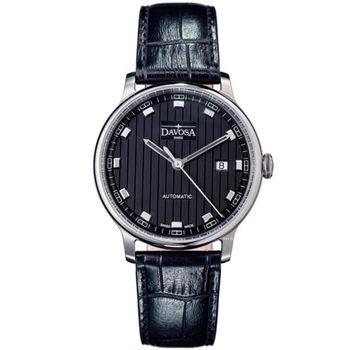 DAVOSA 先鋒系列超薄機械腕錶-黑/40mm