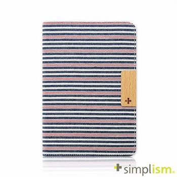 Simplism iPad mini2 布面掀蓋保護套-紅藍橫紋