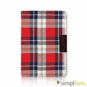 Simplism iPad mini2 布面掀蓋保護套-紅色格紋