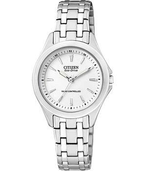 CITIZEN 光動能電波時尚女錶-白 ES5040-51A