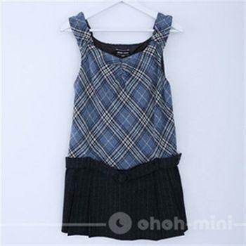 【ohoh-mini】孕婦裝系列-學院情人‧格紋剪接背心上衣