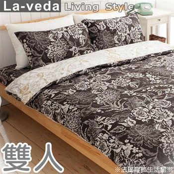 【La Veda】藤花雅韻雙人四件式精梳純棉被套床包組(爵士黑)