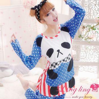 lingling 熊貓點點牛奶絲二件式睡衣組(甜美藍)A1252
