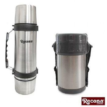 【日本RECONA】不鏽鋼真空雙蓋保溫瓶+真空多功能保溫餐盒