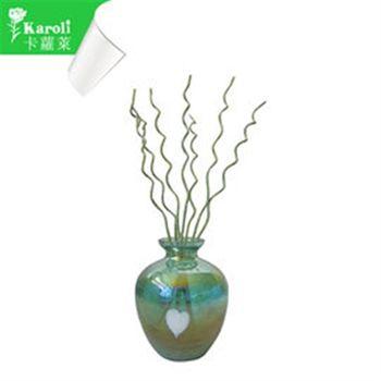 【karoli】卡蘿萊精油蘆葦棒薰香琉璃藍綠瓶組(檀香)