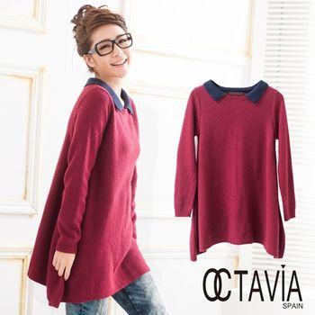 【OCTAVIA COLOR】學院的時尚 藍領紅毛衣散狀上衣