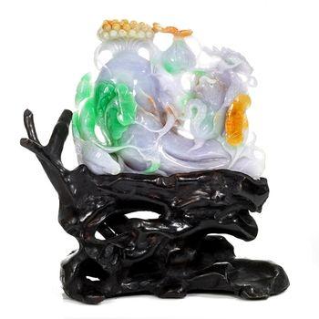 【絕世精品】森茂珠寶 緬甸天然翡翠A貨老坑三彩雕件122507
