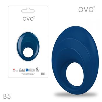 德國OVO-B5 前衛男性 矽膠靜音時尚震動環-深藍色