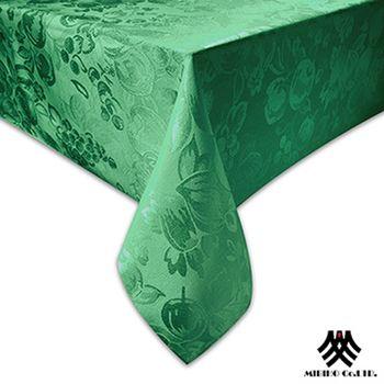 【M.B.H】水果花園緹花防潑水桌巾(深綠)-140x180cm