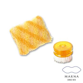 【MARNA】POCO廚房清潔刷閃亮格紋海綿組(黃)