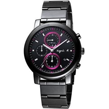 agnes b 精靈三眼計時腕錶-IP黑 BF8327P1