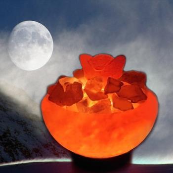 【Naluxe】義大利設計水晶鹽燈-大聚寶盆+小元寶組(特價品)