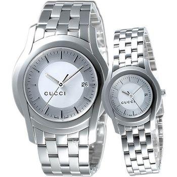 GUCCI 時尚對錶-銀白 YA055212+YA055519