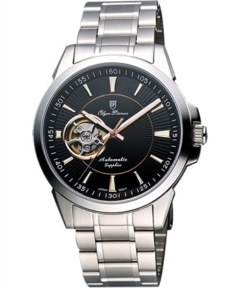 Olympianus都會時尚機械腕錶黑銀990-082AMS