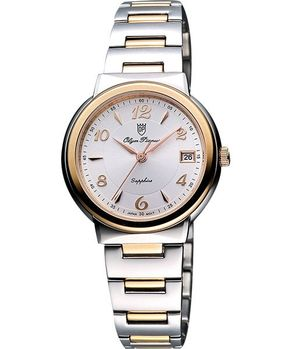 Olympianus時尚雅典女錶銀雙色版5686MSR-銀/半金
