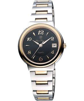 Olympianus時尚雅典女錶-黑/雙色版5686MSR黑/半金