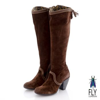 Fly London(女)★MAYA 反牛皮及膝高筒粗跟長靴