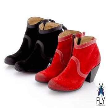 Fly London(女)★TINA 踝上短靴反毛皮粗跟流蘇短靴