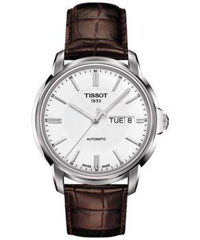 TISSOT 時尚機械腕錶-白/咖啡T0654301603100