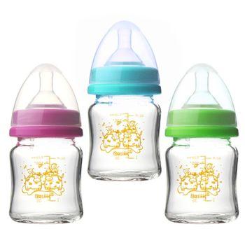 貝喜力克 防脹氣高耐熱寬口徑玻璃奶瓶120ml -任