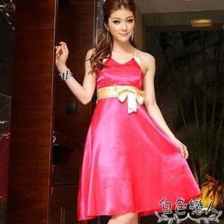 【白色戀人中大尺碼】玫紅色驚艷高腰蝴蝶結俏麗短禮服JK-9527
