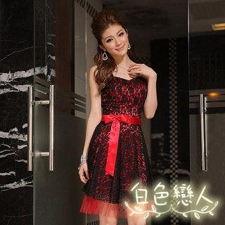 【白色戀人中大尺碼】紅色時尚魅力甜美蕾絲連衣裙JK-9335