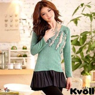 【KVOLL中大尺碼】綠色優雅玫瑰毛邊造型上衣JK-3220