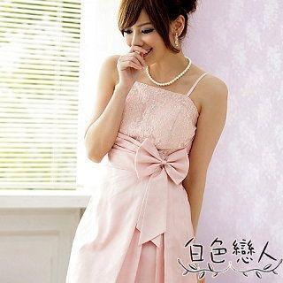 【白色戀人中大尺碼】粉色閃爍亮蕾絲斜邊腰帶禮服式洋裝JK-9311