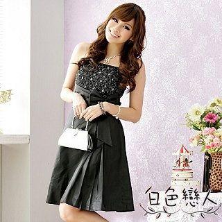 【白色戀人中大尺碼】黑色閃爍亮蕾絲斜邊腰帶禮服式洋裝JK-9311