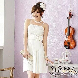 【白色戀人中大尺碼】白色閃爍亮蕾絲斜邊腰帶禮服式洋裝JK-9311