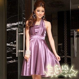 【白色戀人中大尺碼】紫色優雅緞面高腰繞頸式俏麗小禮服JK-9528