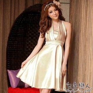 【白色戀人中大尺碼】香檳色優雅緞面高腰繞頸俏麗小禮服JK-9528