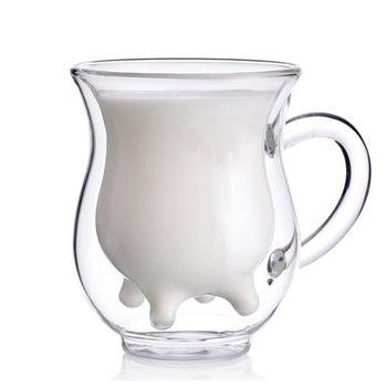 【PUSH餐具】綠色環保雙層耐熱高硼矽玻璃杯 牛奶杯果汁杯