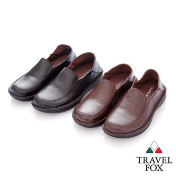 Travel Fox(男) 閒瑕人生 後踩鞋跟二用牛皮休閒鞋