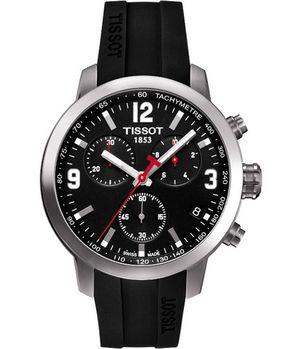 TISSOT競速三眼計時腕錶-黑X橡膠T0554171705700