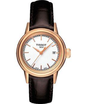 TISSOT 經典石英女錶-白/咖啡T0852103601100