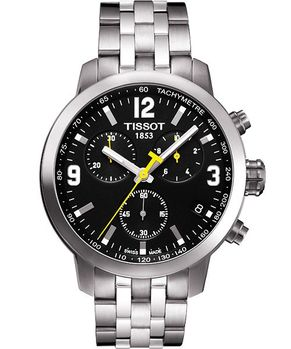 TISSOT 競速三眼計時腕錶-黑/銀T0554171105700