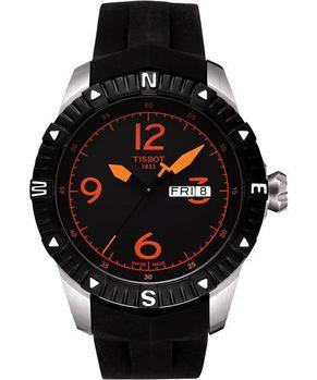 TISSOT霸氣型男腕錶黑橘時標橡膠T0624301705701