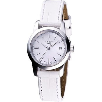 TISSOT 經典皮帶女錶-白T0332101611100