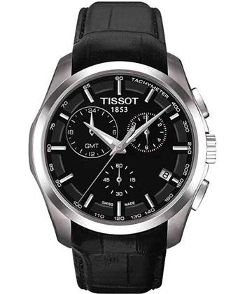 TISSOT建構師系列GMT腕錶黑皮帶T0354391605100