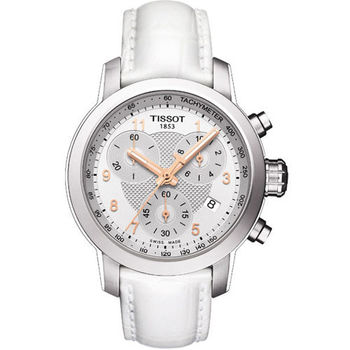 TISSOT 唯美時尚計時腕錶-銀X白T0552171603201