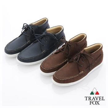 Travel Fox(男) 旅狐休閒鞋 小書生中筒白底休閒鞋