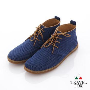 Travel Fox(男) 旅狐休閒鞋 細網反毛皮中筒休閒鞋