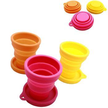 PUSH! 旅遊用品便攜式折疊矽膠杯子旅行漱口杯帶蓋