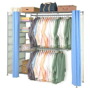 【巴塞隆納】超大收納34型防塵伸縮衣櫥 (附抽屜櫃)