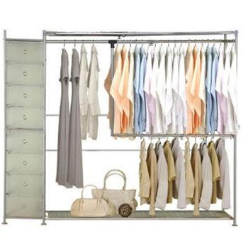【巴塞隆納】雙層雙桿伸縮衣櫥附抽屜櫃(無防塵)