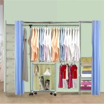 【巴塞隆納】V2A型防塵伸縮衣櫥 (附抽屜櫃)